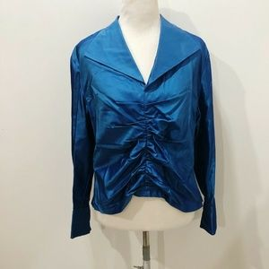 TALBOTS 14 Blouse Solid Blue Formal Cocktail Silk